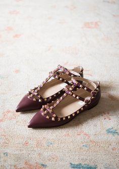 Burgundy Rockstud Ballerinas - Valentino--I want! At least one pair. Valentino Rockstud Heels, Valentino Bags, Valentino Garavani, Fashion Shoes, Fashion Accessories, Fashion Jewelry, Oxfords, Crazy Shoes, Me Too Shoes