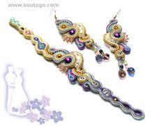 Rio De Oro handgemachte Soutache Armband mit Jades von SoutageAnka