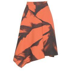 Bottega Veneta Asymetrical Printed Wool Skirt (1.845 BRL) ❤ liked on Polyvore featuring skirts, orange, bottega veneta, asymmetrical skirts, red wool skirt, orange skirt and wool skirts