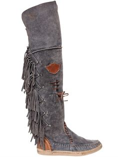 EL VAQUERO - 20MM FRINGED OVER THE KNEE SUEDE BOOTS - BLUE