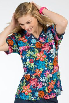 Cute scrub prints with flattering missy contemporary silhouettes and sporty flair! Budget friendly and trendy colors! Prints with just the right amount of personality. #cutescrubs
