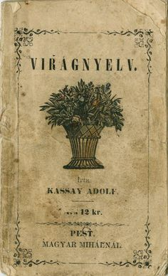 http://issuu.com/sssally/docs/viragnyelv/1  Virágnyelv  Írta: Kassay Adolf. Megjelent: Pesten, Magyar Mihánynál, 1857-ben.