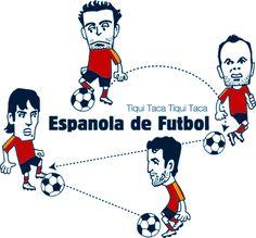 ユーロ優勝記念/スペインのパスサッカー/シャビ/イニエスタ/シルバ/セスク似顔絵