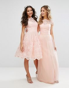 Chi Chi London Premium PINK Lace Maxi Dress With Tulle Skirt And Cap Sleeve | us.asos dot com