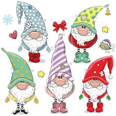 Set of Cute Cartoon Gnomes isolated on a white background - Guggi's Bastelwand - Karikatur Area Christmas Rock, Christmas Gnome, Christmas Crafts, Christmas Decorations, Christmas Ornaments, Cartoon Mignon, Black And White Cartoon, Christmas Drawing, Xmas Drawing