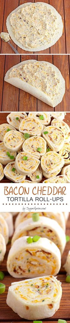 Bacon Cheddar Tortilla Roll Ups - Sugar Apron-Bacon Cheddar Tortilla Roll Ups – Sugar Apron All you need is cream cheese, crumbled bacon (could even use bacon bits), cheddar cheese, ranch dressing, flour tortillas and 5 minutes. Finger Food Appetizers, Finger Foods, Appetizer Recipes, Snack Recipes, Cheese Appetizers, Breakfast Recipes, Kabob Recipes, Fondue Recipes, Party Appetizers