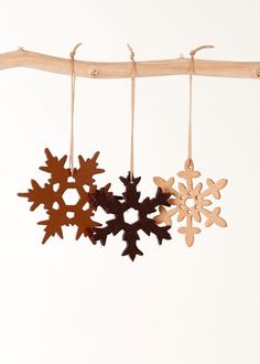 3 Christmas ornaments - snowflakes leather