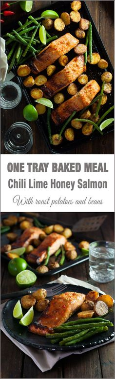 Oven Baked Honey Chili Lime Salmon with Potatoes and Beans (One Tray Meal) - a complete dinner, all made in one tray! Swap the potatoes out with sweet potato or pumpkin and an awesome meal Salmon Recipes, Fish Recipes, Seafood Recipes, Cooking Recipes, Healthy Recipes, Fisher, Salmon Potato, Oven Baked Salmon, Recipetin Eats