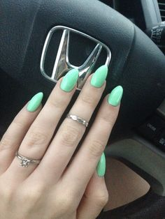Mint almond shaped acrylic nails