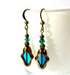 Turquoise Vintage Ohrhänger Bronze von Schmuckzucker auf DaWanda.com