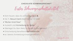 Checkliste Schwangerschaft - erstes Schwangerschaftsdrittel. Was werdende Mamis in den ersten 9 Monaten wissen müssten! Speziell für in Österreich (und Wien) lebende Frauen!