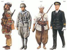 World War II Uniforms -Italy - 1942 Dec., Tunisia, Captain, 184th Parachute Division  Italy - 1942 Feb., Sicily, Sergeant Major, Italian Marine Infantry   Italy - 1942 Jan., North Africa, Corporal, Gruppi Sahariana   Italy - 1942 June, Mediterranean Sea, Ranking Lieutenant, Taranto Command