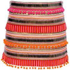 Pink Tropical Pom-Pom Skirt ($329) ❤ liked on Polyvore featuring skirts, mini skirts, bottoms, flounce skirt, pink knee length skirt, sequin skirt, metallic skirt and frilly skirt