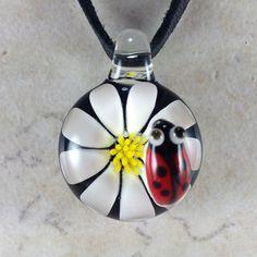 Ladybug flower necklace glass beads pendant Handmade custom jewelry Lampwork beads Glass flowers Boro beads on Etsy, $15.00