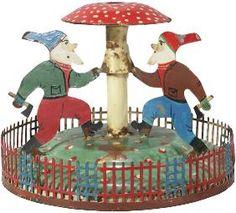 Gnomes & Mushroom Antique Christmas Tree Stand