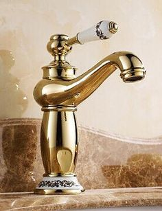 Luxuryclassic TiPVD Finish One Hole Single Handles Hot and Cold Taps Bathroom Sink Faucet CSZ *** Click image to review more details.