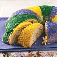 Traditional New Orleans King Cake Recipe -Get in on the fun of the King Cake. Hide a little toy baby in the cake and whoever finds it has one year of good luck! —Rebecca Baird, Salt Lake City, Utah