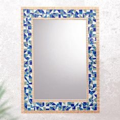 Decorative Mosaic Wall Mirror -- Blue and Copper Mirror Mosaic, Glass Mosaic Tiles, Mosaic Wall, Wall Mirror, Bathroom Mirrors, Coastal Mirrors, Blue Mirrors, Blue Painted Walls, Mirrors