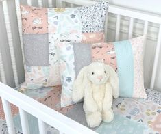 Swan Pillow Cover, Decorative Pillows, Nursery Pillows - Swans and Watercolor Florals in Blush Pink, Gray and Ice Blue Nursery Decor, Bedroom Decor, Patchwork Baby, Minky Baby Blanket, Pillow Forms, Swans, Crib Bedding, Floral Watercolor, Fabric Crafts
