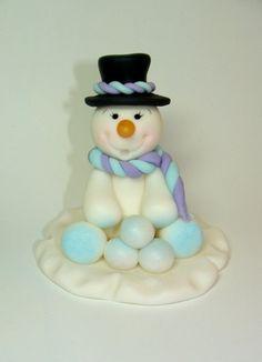 Edible Fondant Cake Topper - Snowman