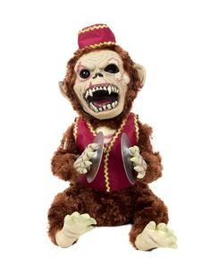 Monkey Chimes only at Spirit Halloween - Unleash this zombified musical chimp on the neighborhood and listen for their terrified screams! Monkey Chimes is a new twist on the familiar monkey with cymbals prop. Tattered fur and scary face make this prop and must have! Pick yours up for only $36.99.