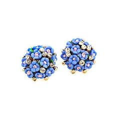 Chic Blue Tiny Floral Earrings (3.20 BAM) ❤ liked on Polyvore featuring jewelry, earrings, earrings jewelry, blue earrings, floral jewelry, blue jewelry and floral earrings