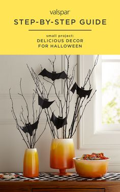 Ombre is so in right now. We've turned this tasty trend into some delicious decor for Halloween. Find out how to make ombre candy corn vases with Valspar Perfect Finish Premium Enamel Gloss. Check out our other step-by-step guides here: https://www.pinterest.com/valsparpaint/step-by-step-small-projects/