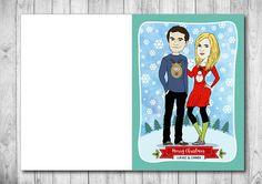 Custom Cartoon Christmas Card Family Portrait Illustration