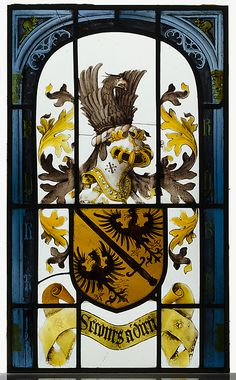Heraldic Panel with Arms of Roland Le Febure, ca. 1504–6, Made in possibly Ghent. -- Arms: Or, a sword bendwise between two eagles displayed sable. Crest (on a barred helm): in profile a demi-eagle volant of the second; lambriquins of the colors. Inscription: (in border): Rh, three times, RK once. (motto): Secours á Dieu.