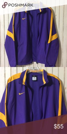 Nike// STORM-fit lightweight zip up Purple and gold.  Excellent condition.  Storm-fit series.  Would fit size 8- smaller 12. Nike Jackets & Coats Utility Jackets