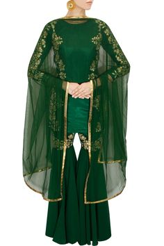 Green embroidered gharara kurta set available only at Pernia's Pop-Up Shop.