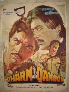 DHARM AUR KANOON (1984) , Rajesh Khanna, Classic, Indian, Bollywood, Hindi, Movies, Posters, Hand Painted