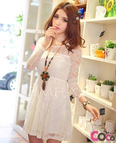 cute japanese clothes   White Long Sleeves Cute Japanese Fashion Lace Dress New Collection