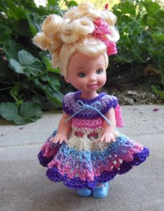 """Crochet Doll Clothes for 4 ½"""" Kelly & same sized dolls 3+ years"""
