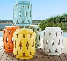 Lattice Ceramic Accent Table From the Pottery Barn Small Spaces Collection, . Small Outdoor Patios, Outdoor Landscaping, Outdoor Living, Outdoor Spaces, Balcony Furniture, Best Outdoor Furniture, Furniture Stores, Solar Patio Lights, White Vases