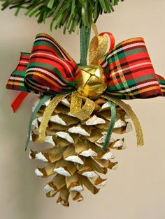 Items similar to Pine Cone Christmas Ornament Bleached Pinecone with Golden Jingle Bell and Plaid Bow Eco-friendly Traditional Red Green Christmas Tree Decor on Etsy Pinecone Ornaments, Diy Christmas Ornaments, Christmas Tree Decorations, Handmade Christmas, Christmas Wreaths, Christmas Christmas, Pine Cone Art, Pine Cone Crafts, Pine Cones