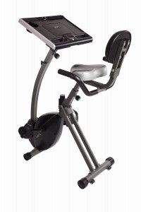 This Stamina WIRK Ride Cycling Workstation has a holder for your laptop, tablet, books and documents so that you can work and exercise at the same time.