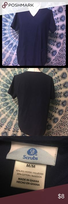 Navy Blue Scrub Top Good Condition. No Holes or Stains. SB Scrubs Tops Tees - Short Sleeve