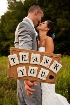 """Great idea.... take a """"thank you"""" photo at the wedding to be able to send to your guests after with their personalized cards!"""
