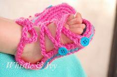 Baby Button Gladiator Sandal Crochet Pattern