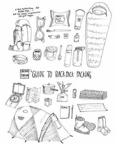 "hannaoliviaway:  I found this on Pinterest and decided I love it. It's pretty accurate to the stuff we take on backpacking trips, give or take a few items. Also ""not kinfolk style.""  Mad drawing skills: iamthatthatiam"