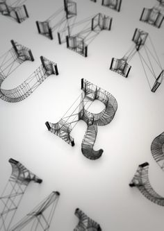lovely and amazing, Wireframe Letters (couldn't pin from original page, so pinned from SwissMiss blog entry)