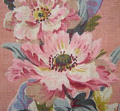 ❥ pink floral barkcloth