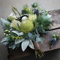 Swallows Nest Farm Banksia, repens, greys and white Bridal Flowers, Flower Bouquet Wedding, Fresh Flowers, Silk Flowers, Floral Wedding, Beautiful Flowers, Silk Flower Bouquets, Protea Bouquet, Australian Native Flowers