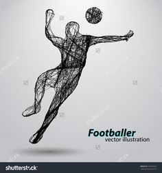 Silhouette Of A Football Player From Wires. Text And Background On A Separate Layer, Color Can Be Changed In One Click Vektorová ilustrace 429873823 : Shutterstock