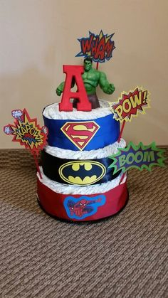 Baby Shower Themes For Boys Superhero Diaper Cakes 47 Best Ideas Baby Shower Presents, Baby Shower Parties, Baby Shower Themes, Baby Shower Decorations, Baby Shower Gifts, Baby Gifts, Shower Ideas, Marvel Baby Shower, Superhero Baby Shower