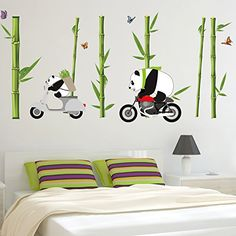 Are these pandas having an autumnal bike race? It certainly looks like it!! Wall stickers apply best to hard, flat, smooth surfaces. Made from PVC/vinyl and easy to apply (just peel off the backing and stick!). Waterproof.