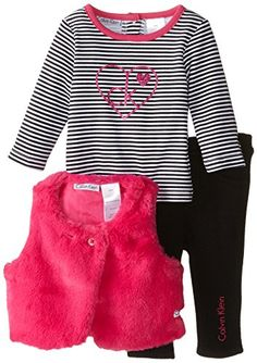 0fcf994a70a Amazon.com  Calvin Klein Baby Girls  Pink Vest With Tee and Leggings