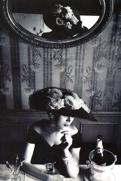 Dovima in hat and dress by Christian Dior, photo by Henry Clarke, 1956