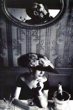 1956. Model: Dovima. Hat & dress by Christian Dior. Photo by Henry Clarke (B1918 - D1966)